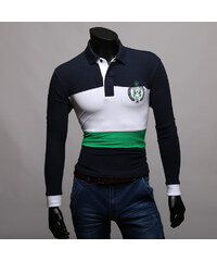 Maritimi Langarm-Poloshirt mit maritimen Streifen - Grün - S
