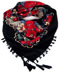 Lesara Schal mit Blumen-Muster & Fransen - Schwarz