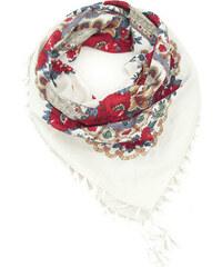 Lesara Schal mit Blumen-Muster & Fransen - Weiß