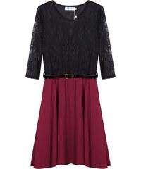 Lesara Kleid im 2-in-1-Look mit Spitzen-Ärmeln - Dunkelrot - S