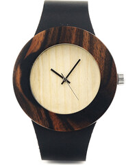 Lesara Holz-Armbanduhr mit Lederband - Schwarz