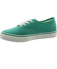 Lesara Flacher Sneaker mit weißer Laufsohle - Grün - 36