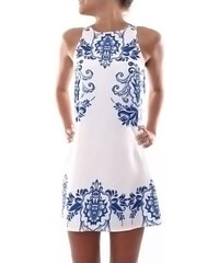 Lesara Ärmelloses Kleid mit Ornament-Muster - Weiß - S