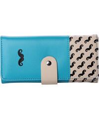 Lesara Geldbörse mit Schnurrbart-Print - Blau