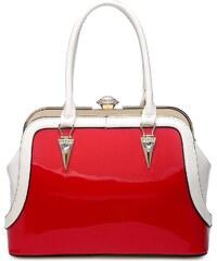 Moda Handbag Červeno-bílá lakovaná kabelka L970