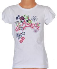 Topo Dívčí tričko s potiskem a kamínky - bílé