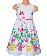 Topo Dívčí šaty s motýlky - bílé