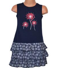 Topo Dívčí šaty s volánky - tmavě modré