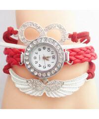 Lesara Viergliedrige Armbanduhr mit Schmuckelementen - Rot