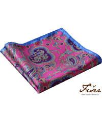 Fišer Luxusní hedvábný kapesníček růžový vzorovaný