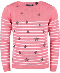 Blue Seven Dívčí pruhovaný svetr s hvězdičkami - růžový