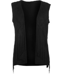 Vesta Firetrap Blackseal Fringed Sleeveless Jacket Black