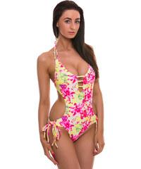 Žluto-růžové vystužené plavky Relleciga Strips Oz