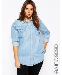 ASOS CURVE - Chemise en jean coupe boyfriend - Bleu clair délavé - Bleu