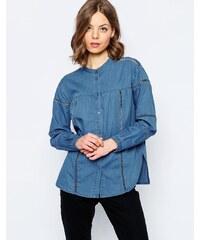ASOS - Chemise en jean avec insert effet échelle - Bleu délavé moyen - Bleu
