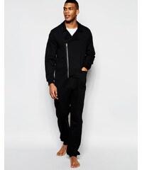 ASOS Loungewear - Grenouillère style blouson motard - Noir