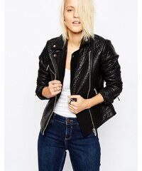 ASOS Textured Leather Look Biker Jacket - Noir