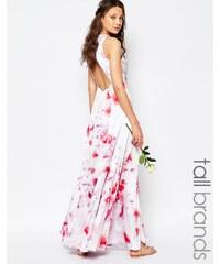 Fame And Partners Tall - Asleigh - Robe longue à imprimé fleurs avec dos ouvert et fentes sur les côtés - Multi