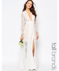 Fame And Partners Tall - Laced Heaven - Robe longue fendue - Blanc