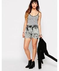 Glamorous - Short en jean délavé à l'acide - Gris