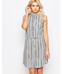 Influence - Robe chemise rayée en lin avec lien coulissant à la taille - Gris