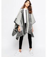 MiH Jeans MiH - Cardigan enveloppant réversible motif couverture - Crème