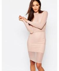 Missguided - Hochgeschlossenes, figurbetontes Kleid aus Netzstoff - Beige