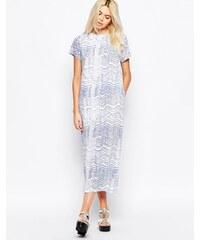 The Whitepepper - Maxi-T-Shirt-Kleid mit Wellen-Print - Blau