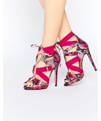 Truffle Collection - Rita - Sandales à talons style ghillies - Rose