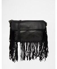Urban Originals - Sac porté épaule à franges - Noir