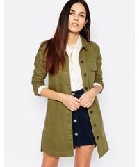Warehouse - Veste en jean style blouse de laboratoire - Vert