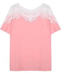 Lesara T-Shirt mit Häkelspitze - Rosa - S
