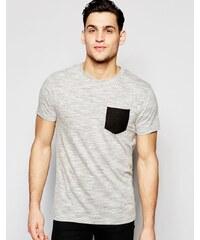 Bellfield - T-shirt ras du cou avec poche avant contrastante - Gris