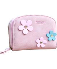Lesara Geldbörse in Velours-Optik Blume - Pink