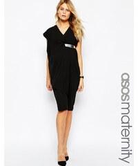 ASOS Maternity - Robe asymétrique mi-longue style contemporain avec ceinture - Noir