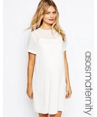 ASOS Maternity - Robe droite avec superposition en mousseline - Blanc