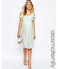 ASOS Maternity - WEDDING - Drapiertes, schulterfreies, mittellanges Bleistiftkleid - Grün