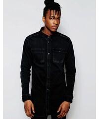 D.I.E. - Workman - Chemise coupe longue classique en jean effet vieilli - Noir - Noir