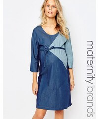 Mama.licious Mamalicious - Jeanskleid in Patchwork-Optik - Blau