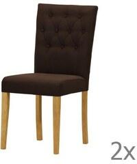 Wintech - Warehouse 3 Sada 2 židlí Monako Etna Dark Brown, přírodní nohy