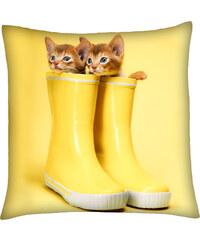 Polštář s motivem kočky 12, žlutá, Mybesthome 40x40 cm Varianta: Povlak na polštář, 40x40 cm