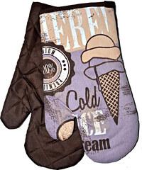 Kuchyňské rukavice chňapky RETRO 18x30 cm zmrzlina vzor retro styl Essex