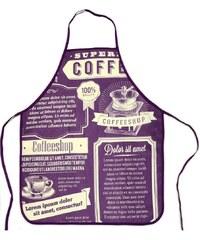 Kuchyňské zástěry OLDIES 60x75 cm, fialová, vzor coffee, Essex