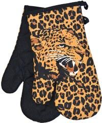 Kuchyňské rukavice chňapky AFRICA 18x30 cm hnědá motiv leopard Essex