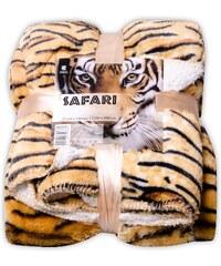 Přehoz s beránkem SAFARI 160x200 cm béžová motiv tygr Essex