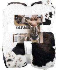 Přehoz s beránkem SAFARI 160x200 cm černá/bílá motiv gazela Essex