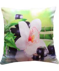 Polštář BÍLÁ ORCHIDEJ S BAMBUSEM zelená MyBestHome 40x40cm fototisk 3D motiv bílá orchidej s bambuse Varianta: Povlak na polštář, 40x40 cm
