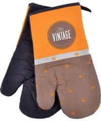 Kuchyňské bavlněné rukavice chňapky VINTAGE, hnědá, 18x30 cm, 100% BAVLNA Essex