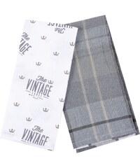 Utěrka VINTAGE 100% bavlna, 2 kusy, šedá, 45x65 cm Essex