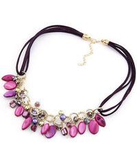 Lesara Halskette mit Schmuck-Steinen - Violett